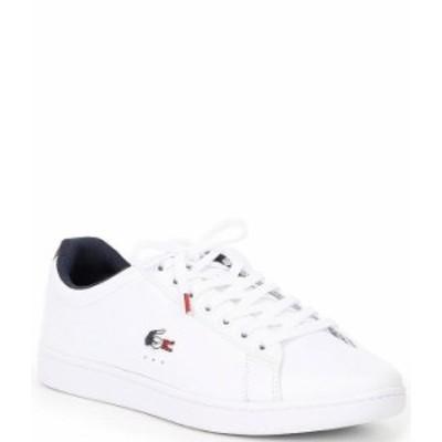 ラコステ メンズ スニーカー シューズ Men's Carnaby EVO TRI1 Leather Sneakers White/Navy/Red