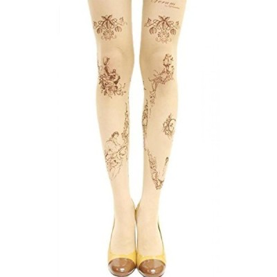 タトゥー タイツezShe Womens Tattoo Prints Leggings Lolita Tights Pantyhose正規輸入品