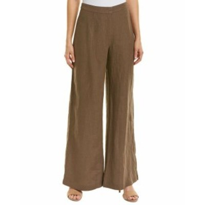 Three Dots スリー ドッツ ファッション パンツ Three Dots Wide Leg Linen Pant 6 Brown