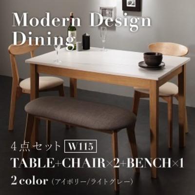 ダイニング テーブル チェア セット / 4点セット(テーブル+チェア2脚+ベンチ1脚) テーブル幅:W115 カラー:ホワイト×ナチュラル  4人