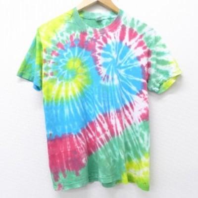 古着 半袖 ビンテージ Tシャツ 90年代 90s 無地 コットン クルーネック USA製 水色他 タイダイ Mサイズ 中古 メンズ Tシャツ 古着