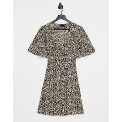 エイソス レディース ワンピース トップス ASOS DESIGN button through tie back mini tea dress with angel sleeve in animal print Ani