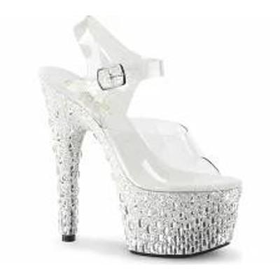 Pleaser レディースサンダル Pleaser Adore 708MR-5 Ankle Strap Sandal Clear PV