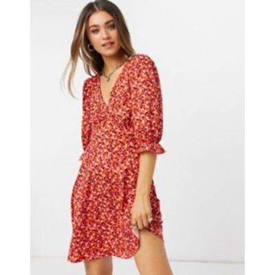 ニュールック レディース ワンピース トップス New Look v neck tea dress in red floral Red pattern