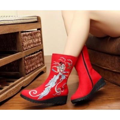 レディースシューズ チャイナ靴手作り北京布靴エスニックチャイナシューズカジュアル民族風 花刺繍柄ミュール婦人ハイヒール長靴