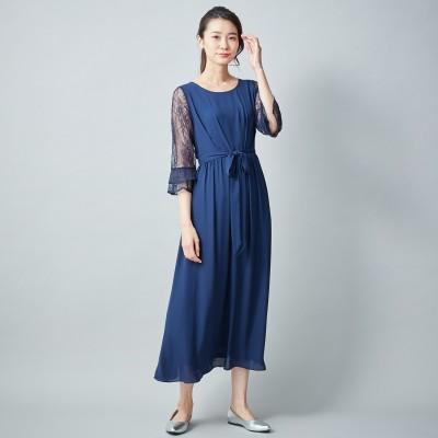 袖レースシフォンワンピースドレス【フォーマルにも◎】(trattoria)