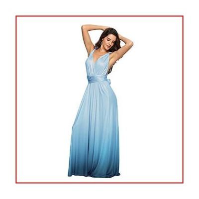【新品】Women Evening Long Maxi Gradient Ombre Dress Convertible Multi-Way Wrap Floor Boho High Elasticity Wedding Party Gown Tiffany Bl
