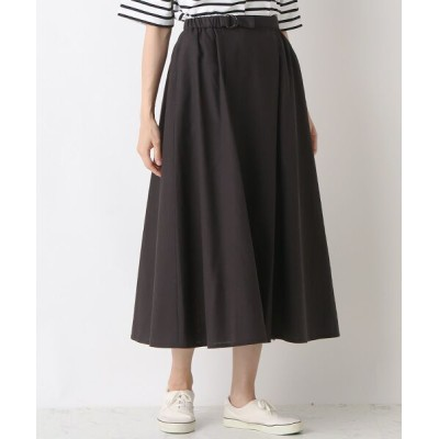 yueni/ユエニ {洗える}リネン/ポリエステル オーバースカート ブラック フリー