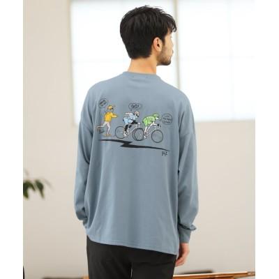 【ジギーズショップ】 ツーリングバックプリントTシャツ / ロンT メンズ Tシャツ 長袖Tシャツ ロンティー クルーネック プリント メンズ ブルー L JIGGYS SHOP