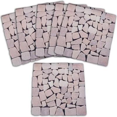 コモライフ 雑草が生えないオシャレな天然石マット6枚組 ピンク 68332 1セット(6枚組)(直送品)
