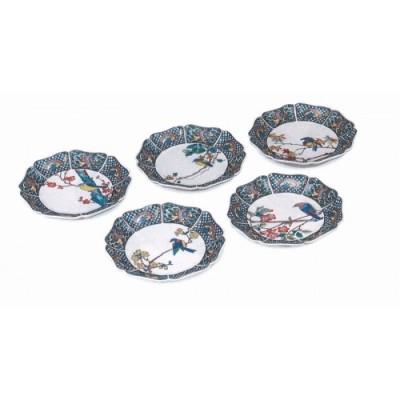 045006. 【料理に彩を添えます】皿揃(5.5号)・花鳥絵変り(118)