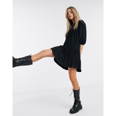 ベルシュカ レディース ワンピース トップス Bershka crinkle tiered smock dress in black