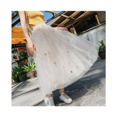 透け感が可愛いチュールスカート フェミニン&ガーリー系 カジュアル マキシ丈 星柄 ゆったり 春夏 お出かけや女子会に SK-0052