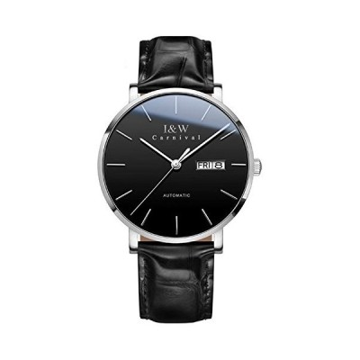 Carnival Fashion Automatic Mechanical Watches I&W Simple Thin Leather Strap Sapphire Crystal Waterproof Wristwatches (Silver Black) 並行輸入品
