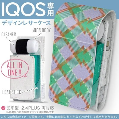 iQOS アイコス 専用 レザーケース 従来型 / 新型 2.4PLUS 両対応 「宅配便専用」 タバコ  カバー デザイン チェック 模様 ピンク 004416