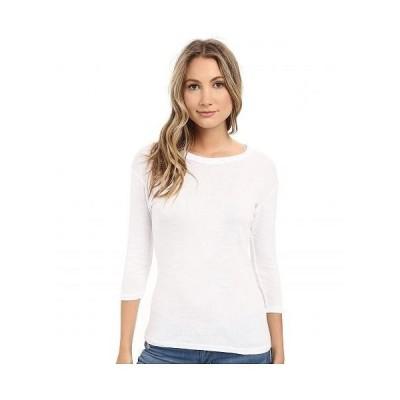Michael Stars ミッシェルスターズ レディース 女性用 ファッション Tシャツ Shine Dora 3/4 Sleeve Crew Neck Shirt - White