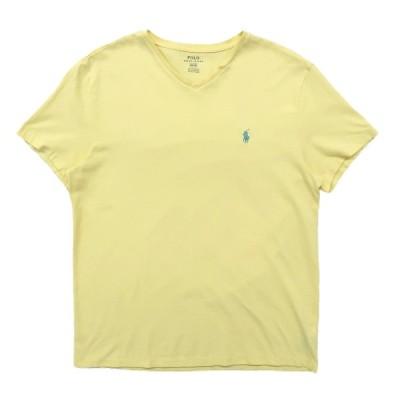 古着 ラルフローレン Ralph Lauren Vネック Tシャツ ワンポイント イエロー サイズ表記:M