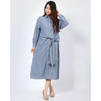 ジーラ GeeRA 前結びデザインシャツワンピース (ブルー系)
