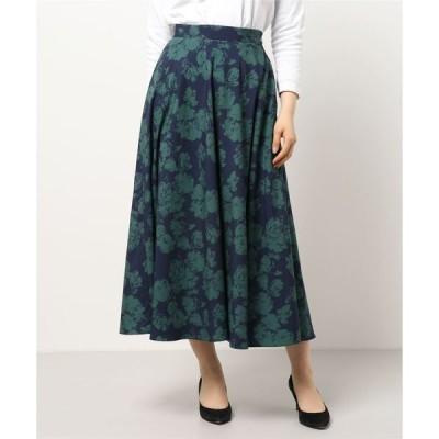 スカート ツートンカラーフラワープリントフレアスカート