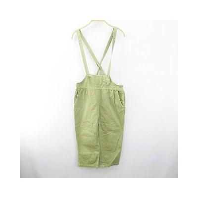 【中古】FIG 七分丈 パンツ サロペット オーバーオール F 緑 グリーン系 綿 コットン レディース 【ベクトル 古着】