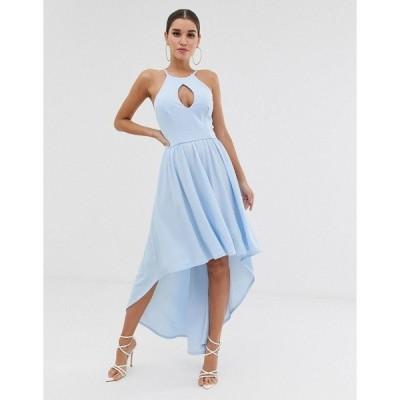クラブエルロンドン レディース ワンピース トップス Club L hi-lo midi dress with key hole detail Pale blue