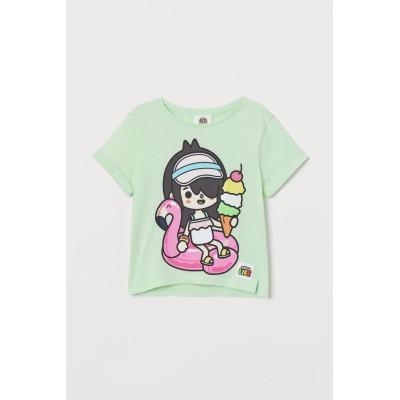 H&M - グリッタープリントTシャツ - グリーン