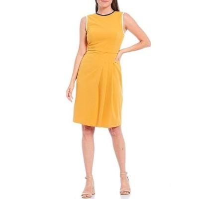 マギーロンドン レディース ワンピース トップス Contrast Trim Side Pleat Sleeveless Stretch Scuba Dress