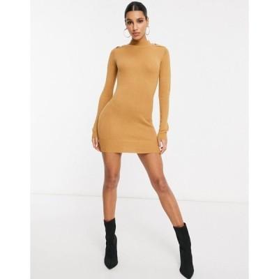 ブレーブソウル レディース ワンピース トップス Brave Soul military sweater dress in camel Spiced camel