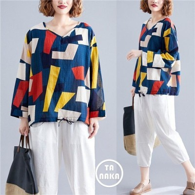 Tシャツ 大きいサイズ プルオーバー カットソー Vネック 体型カバー 長袖 トップス レディース ゆったり ティーシャツ プリントTシャツ 幾何学