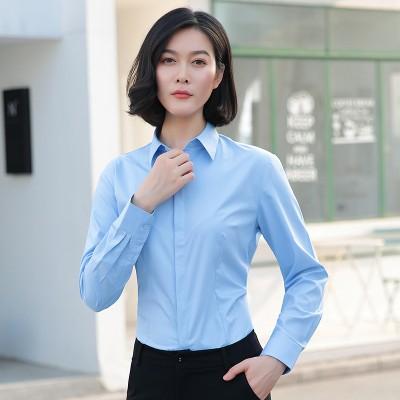 白シャツの女性の長袖の職業の秋の韓版の上着の面接試験の寸のシャツの仕事のスーツのビジネスのスーツのシャツ