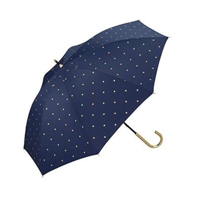 日傘 晴雨兼用 遮光 ゴールドプチハート ブラック ネイビー オフ ハート柄完全遮光 PU加工 長傘 【ネイビー】