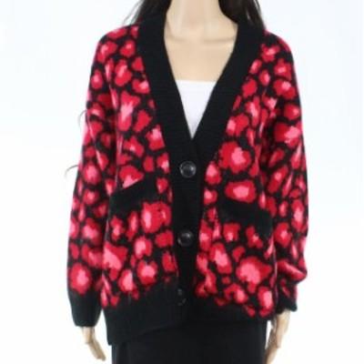 Topshop トップショップ ファッション トップス Topshop Womens Red Size 6 EU 38 Leopard-Printed Cardigan Sweater