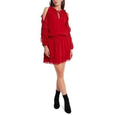 ワンステイト ワンピース トップス レディース Cold-Shoulder Ruffled-Sleeve Dress Vibrant Red