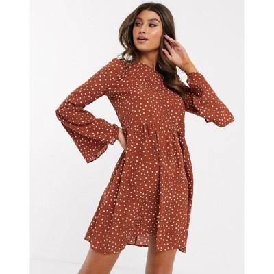 エイソス レディース ワンピース トップス ASOS DESIGN fluted sleeve smock mini dress in spot