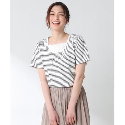 (Honeys/ハニーズ)胸元レース使いTシャツ/レディース オフホワイト