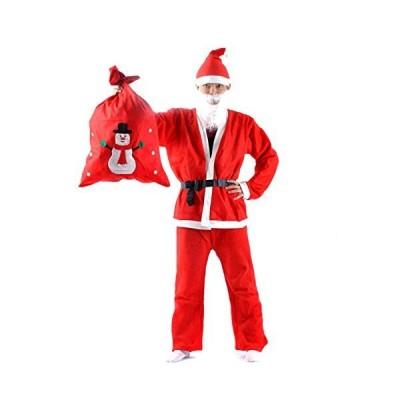 サンタクロース コスチューム衣装5点セット (ジャケット、ズボン、ベルト、帽子、ひげ) おまけにサンタ袋