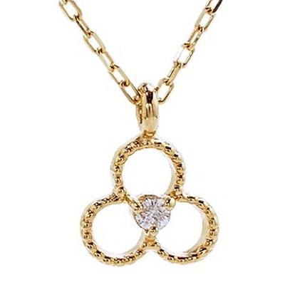ダイヤモンド ゴールド K18 ネックレス ペンダント プチネックレス ダイヤ 0.01ct チェーン付き 品質保証書付き