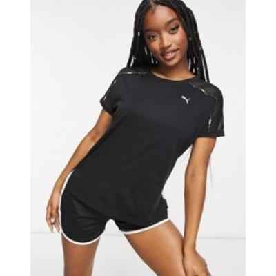 プーマ レディース シャツ トップス Puma Training Logo t-shirt in black Black