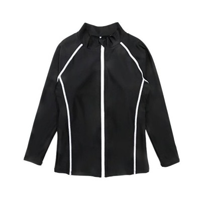 レディースパッド付き長袖ラッシュガード水着 sw2165 (L, ブラック)