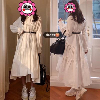 店長推薦 📣📣📣韓国ファッション  CHIC気質女の子のシャツゆったりスレンダーラインPoloの襟ワンピース ベルト付き