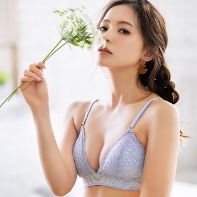 Lingerie by GeeRA フラワーレースブラレット&ショーツセット オレンジ ~S レディース