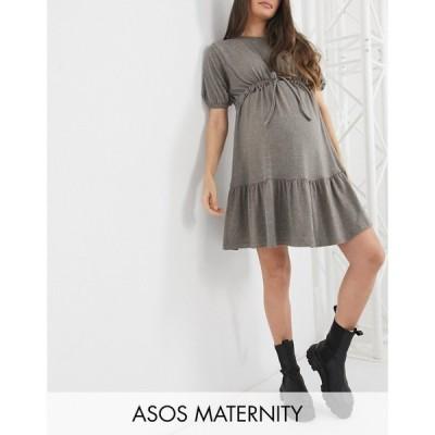 エイソス ASOS Maternity レディース ワンピース マタニティウェア Aライン Maternity super soft short sleeve tiered ruched waist mini dress in mushroom