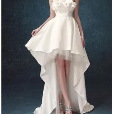 高品質 エレガント ビスチェ 前短後長ドレス 花飾り ウエディングドレス トレーン セクシー 結婚式 二次会 編み上げ お姫様 花嫁 着痩せ