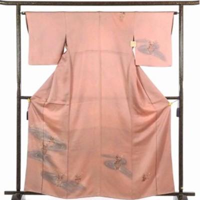 【中古】リサイクル訪問着 / 正絹茶ローズ地刺繍紋入袷訪問着着物 / レディース【裄Mサイズ】(古着 中古 訪問着 リサイクル品