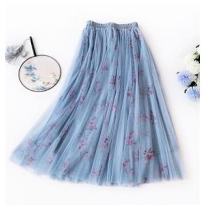 新スタイル プリーツ フェアリースカート ロングスカート Aライン 花柄スカート