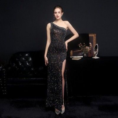 パーティードレスイブニングドレス可愛い安いスパンコールワンショルダーセクシーセレブ披露宴結婚式発表会2次会