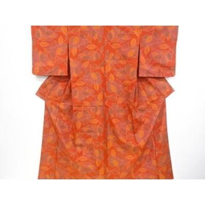 宗sou 未使用品 枝葉模様織り出し十日町紬着物【リサイクル】【着】