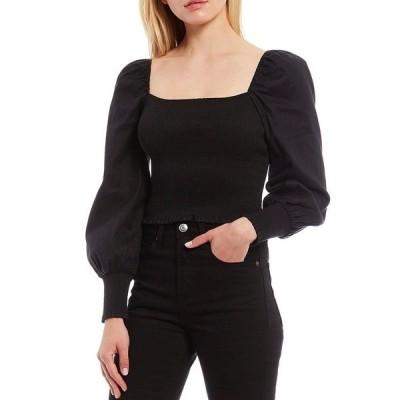 ジアーニビニ レディース シャツ トップス Angel Square Neck Long Sleeve Smocked Blouse Black