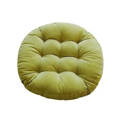 PGY 座布団 クッション 丸型 おしゃれ 無地 体圧分散 ふわふわ 座り心地いい かわいい 瞑想 直径55cm 厚さ9cm (グリーン)