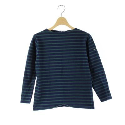 【中古】セントジェームス SAINT JAMES バスクシャツ カットソー ボーダー 長袖 紺 緑 XS /DK30 レディース 【ベクトル 古着】